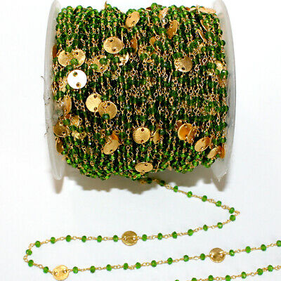 3 Feet PERIDOT 3mm Bead DISC COIN Rosary LINK Chain 24K Gold Plated DIY Gemstone