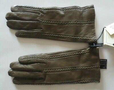 Antonio Murolo Brown Leather Cashmere Lined Women's Gloves 7 - Made in Italy NWT