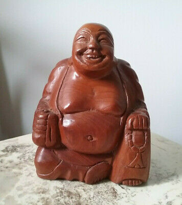 Vtg Hand Carved Wood Laughing Buddha Sculpture Sitting Happy Lucky Statue Art