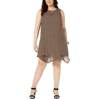 Style & Co. Womens Lace Inset Embroidered Party Shift Dress Plus BHFO 0605