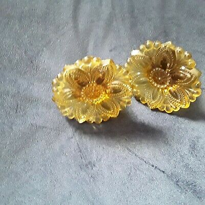2 Antique Sandwich Glass Amber Rosette Curtain Drapery Tie Backs aprox 2 7/8""