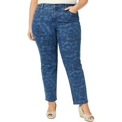 Charter Club Womens Blue Denim Printed Straight Leg Jeans Plus 20W BHFO 2491