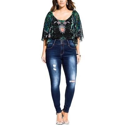 City Chic Womens Harley Blue Denm Destroyed Skinny Jeans Plus 16 Short BHFO 2550
