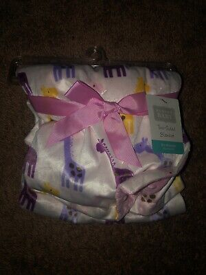 Hudson Baby Girl Minky Blanket with Dotted Mink Backing, Pink Giraffe