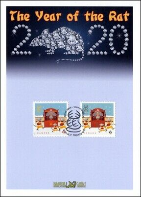 "Sc. TBA Canada Year of the Rat ""Permanent"" sheet/booklet ""Studs"" Dragon Card FDC"