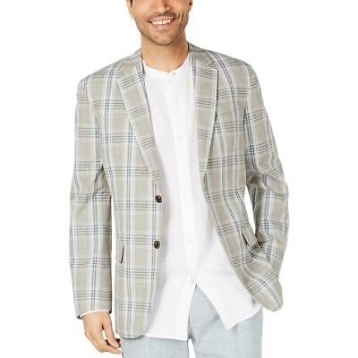 Tasso Elba Mens Green Plaid Two Button Sportcoat Blazer Jacket XXL BHFO 2969