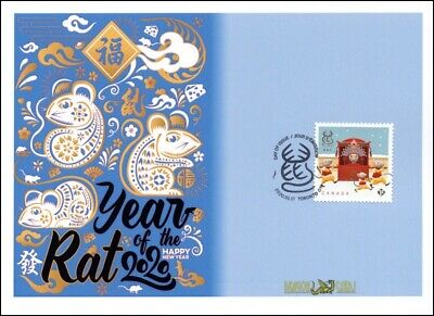 "Sc. TBA Canada Year of the Rat ""Permanent"" sheet version ""icons"" Dragon Card FDC"