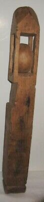 Old Wooden Hand Carved Whimsey Prison Art - One Piece of Wood - Ball inside Cage