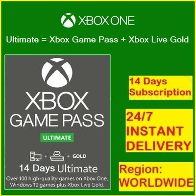 Xbox Game Pass Ultimate 14 Days+Xbox Live-(Only Xbox One)/ Instant Delivery 24/7
