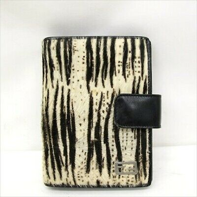 FENDI Notebook Cover with Notepad Harako Zebra Animal Black White Brown #3332Q