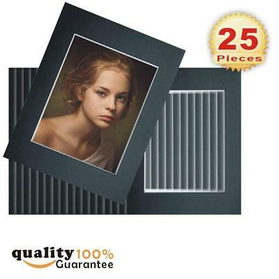 25 Pack 11x14 Black Picture Mats with White Core Bevel Cut for 8x10 Pictures