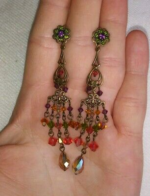 Sweet Romance Victorian Style Multicolor Crystal Chandelier Drop Dangle Earrings