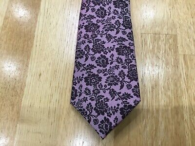 Marks & Spencer pink & burgundy floral design woven 100% silk tie Xmas gift NEW