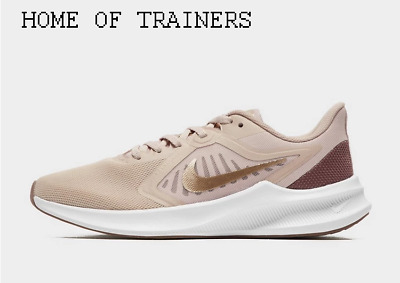 Nike Downshifter 10 Brown White Gold Girls Women's Trainers All Sizes