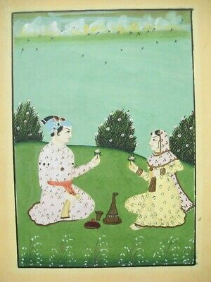 19/20thC ORIGINAL INDIAN MINIATURE GOUACHE/GOLD HIGHLIGHTS - PRINCE & PRINCESS