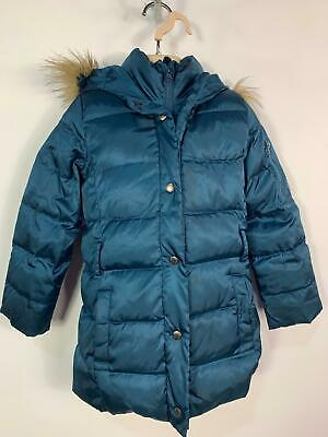 Girls Gap Petrol Blue Winter Padded Hood Raincoat Jacket Kids Age 6/7 Yrs Small