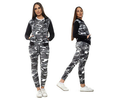 Womens Camo Tracksuits Zipper Hoodie Top Bottom Army Trousers 3 Pc Set Plus Size