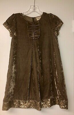 Mini Boden Girls Chocolate Brown Velvet with Gold Sequins Dress Sz 9-10 YRS