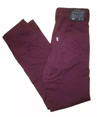 Levi Strauss 511 Skinny Maroon Red Burgundy Zip Up Pants Mens Sz 31 x 32