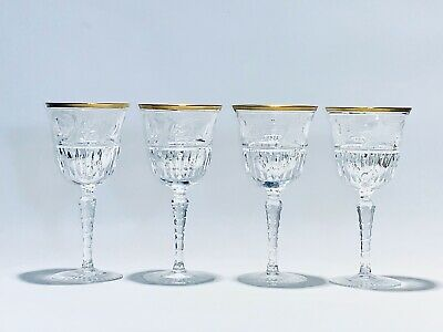 Stunning Antique 4 Hand Cut & Hand Blown Crystal Wine Glasses With 24K Gold Rim