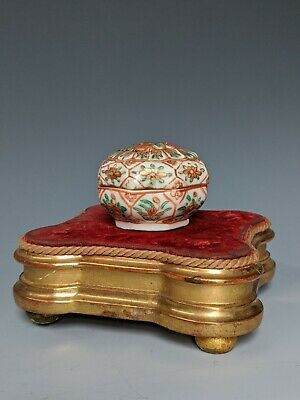 Antique Chinese Porcelain Ink Box Enamel Three Color Qing 19th