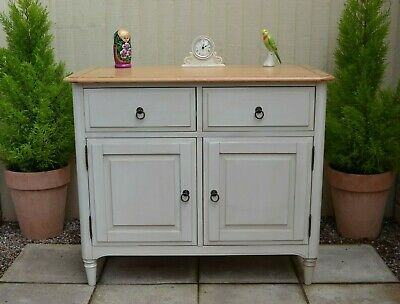Lovely Oak Sideboard Cupboard Cabinet 2 Door French Style Painted Ivory Cream