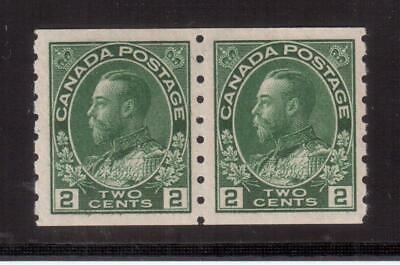 """Canada 1912 Mint Vf Nh Pair #128, King George V """"Admiral"""" Coil Issue !!  A111"""