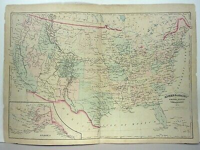 """1872 Asher & Adams """" United States & Territories Map"""" +  2 Territory Info Pages"""
