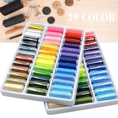 39x Mixed Colors Polyester Spool Sewing Thread For Machine High Quality Kit Shop