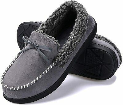 Men's Moccasin Slippers Memory Foam House Shoes, Indoor Outdoor Winter Warm Slip