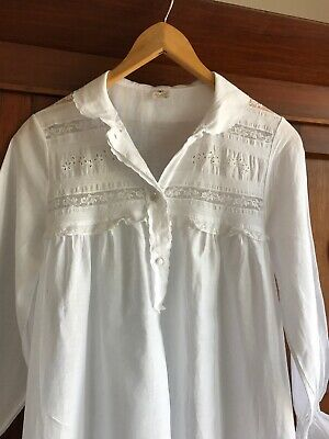 Vintage 1950's Made In Italy White Cotton Dress S With Lace