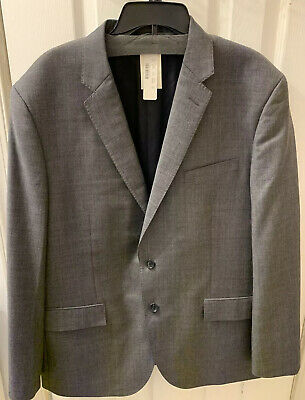 New J Crew Crosby Suit Jacket Double Vent Worsted Wool 46R Charcoal Gray C3270