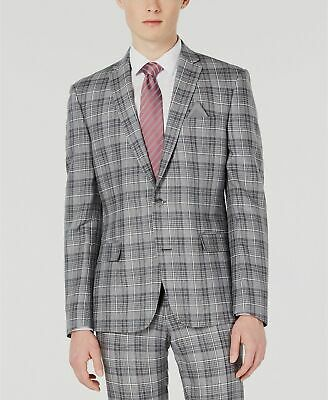 $525 Bar III 38R Men's Gray Slim Fit Linen Plaid Sport Suit Coat Blazer Jacket