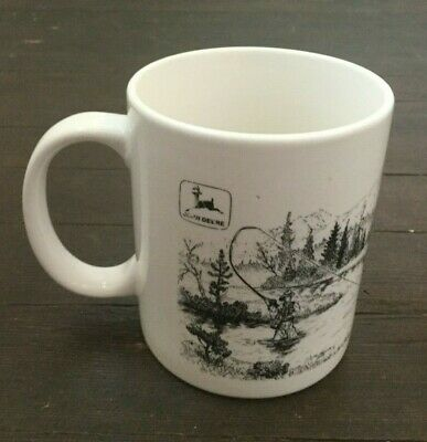 John Deere Coffee Mug Fly Fisherman Fishing Black White Nature Scene