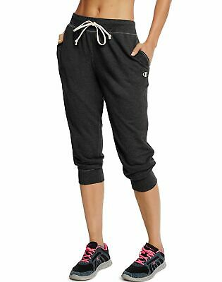 Champion Capris Sweatpants Womens French Terry Brushed Drawcord Soft Low Profile