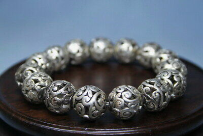China Decoration Handwork Miao Silver Carving Hollow Out Pattern Noble Bracelet