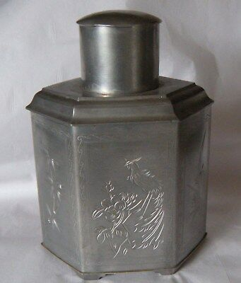 Vintage Chinese Pewter Hexagon Tea Caddy Etched Dragon Bird Flowers