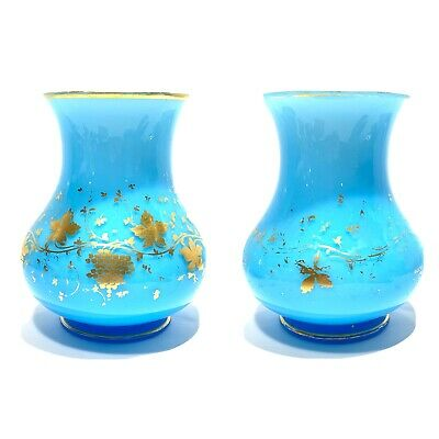 """Antique Pair Of Blue French Opaline Glass Gold Gilded Vases 7"""""""