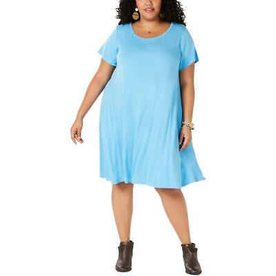 Style & Co. Womens Heathered Scoop Neck Above Knee T-Shirt Dress Plus BHFO 4897