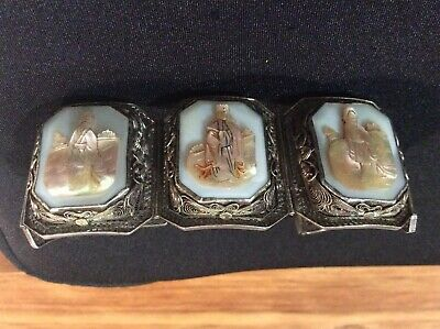 Wide Chinese Silver filigree paneled bracelet with portrait carved panels