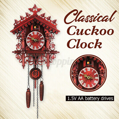 Handcraft Wooden Antique Bird Cuckoo Clock House Style Wall Vintage Home Decor