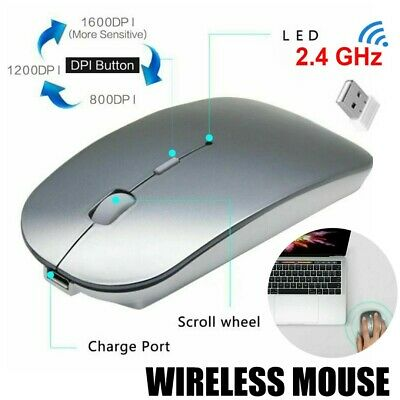 2.4GHz USB 2.0 Rechargeable bluetooth Slim Wireless Mouse Mice For PC MAC Laptop