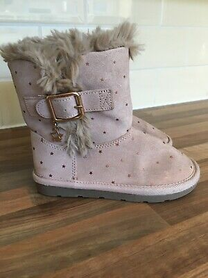 Next Girls Blush Pink Suede Pull On Boots Size 10 Kids UK