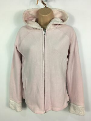 Womens Next Pink Fluffy Fleecy Zip Faux Fur Hooded Jumper Jacket Sweater Uk 16