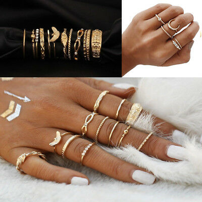 12pcs Boho Silver/Gold Stack Plain Above Knuckle Ring Midi Finger Rings Gift Set