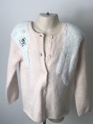 Girls H&M Pink & White Fluffy Soft Cardigan Long Sleeve Kids Age 4-6 Years