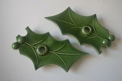TWO holly leaf candle holders antique ceramic green glazed