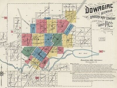 Dowagiac, Michigan~Sanborn Map©sheets made in 1884 to 1922~CD in color~49 maps