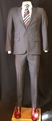 """Black/white pinstriped 2pc suit, polyester by 'The Suit Company', size S, 32""""..."""