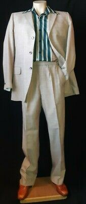 """1960's 2 piece suit, textured taupe Terylene, by 'Hector Powe' size S, 32"""" wa..."""